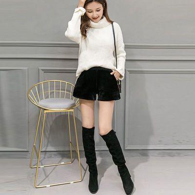 金丝绒短裤秋冬加绒加厚外穿女学生韩版宽松显瘦高腰休闲阔腿裤