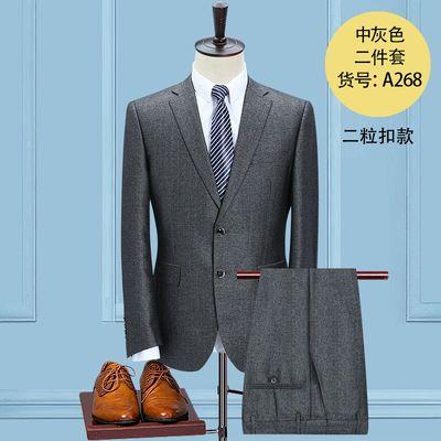 男士西服套装薄款中老年休闲免烫宽松大码商务爸爸装商务灰色西装