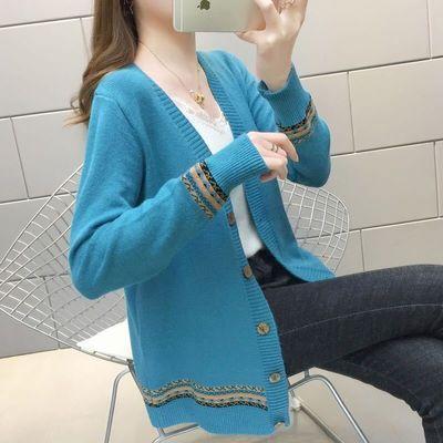 2020秋冬针织开衫外套女加厚宽松大码版拼色长袖民族风外套毛衣