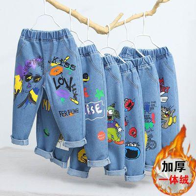 男女童牛仔裤2020秋冬新款加绒加厚小童韩版洋气休闲宽松运动裤潮
