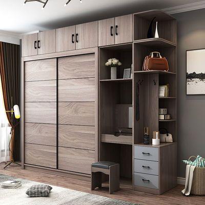 推拉门衣柜家用现代简约经济型北欧卧室柜子移门滑动大衣橱带妆台