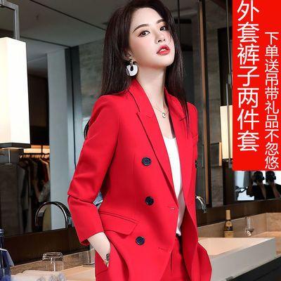 红色西装套装女2020秋冬新款英伦风长袖西服女士气质职业套装洋气