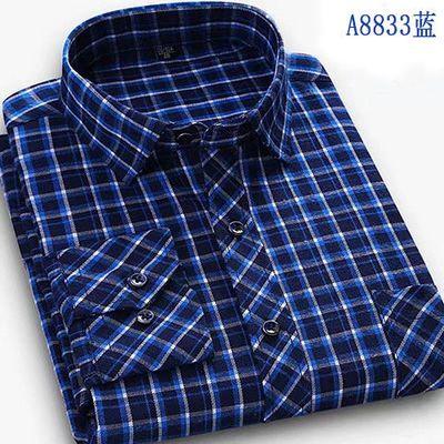 62924/曼佰路 高质量中老年男士长袖格子衬衣商务装免烫抗皱长袖爸爸装
