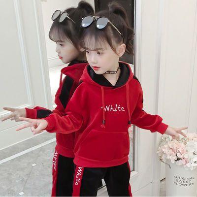童装女童秋装套装2020新款春秋网红儿童金丝绒运动卫衣两件套洋气
