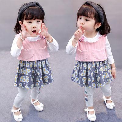 女宝宝春装0小童秋装洋气套装女童装1-2-3-4岁韩版小孩子春天衣服