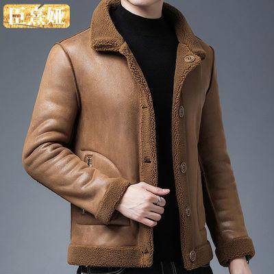 秋冬季皮夹克男韩版休闲外套中青年棒球领加绒皮衣大码男双面可穿