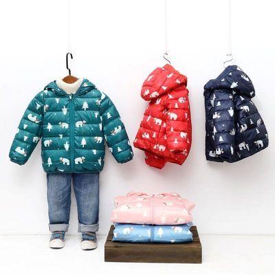 2020年新款儿童羽绒服中小童花布羽绒外套韩版修身连帽羽绒服