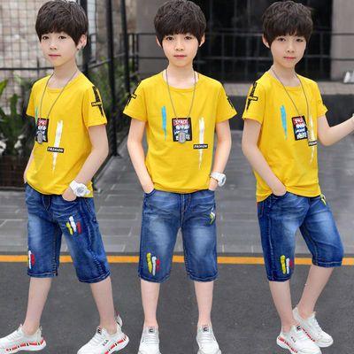 【95棉T恤+牛仔中裤】童装男童短袖套装2020新款夏装中大童运动