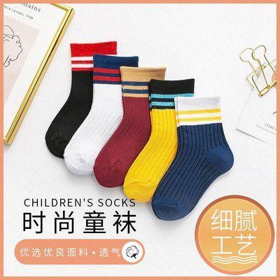 新款春秋儿童毛圈袜棉短袜二杠条纹儿童学生中筒袜子男女童袜