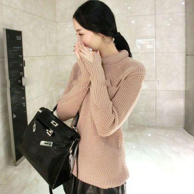 驼色别致领小细节好版型短款厚羊毛毛毛衣 大量现货
