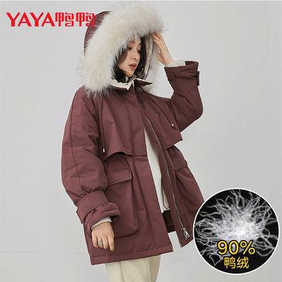 YAYA鸭鸭2020年新款派克羽绒服女短款时尚连帽大毛领保暖收腰外套
