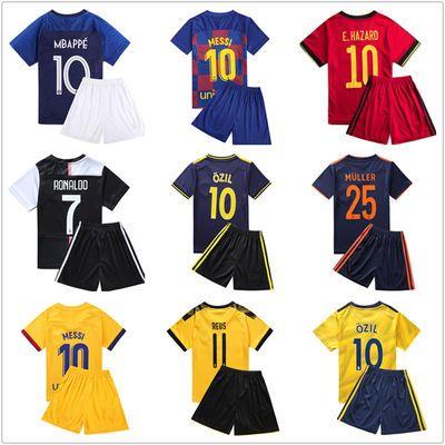 巴萨儿童足球服套装梅西球衣阿根廷训练服巴西曼联成人足球队服