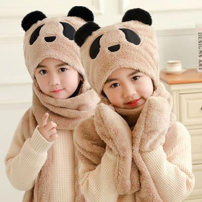 韩版加绒秋冬季男童女童围巾帽子手套三件套三合一体护耳围脖脖套