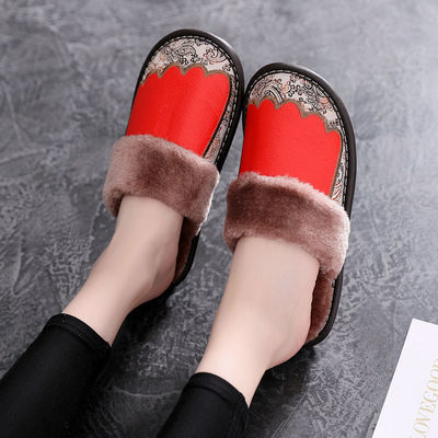 头层牛皮拖鞋居家室内皮托情侣刺绣鞋子牛筋底加绒包头拖鞋冬