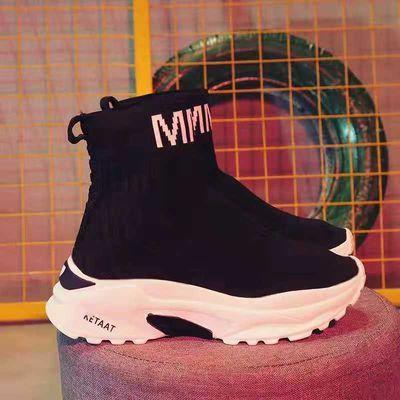 袜子鞋女秋冬新款韩版松糕厚底加绒高帮鞋休闲套脚女单靴学生袜靴
