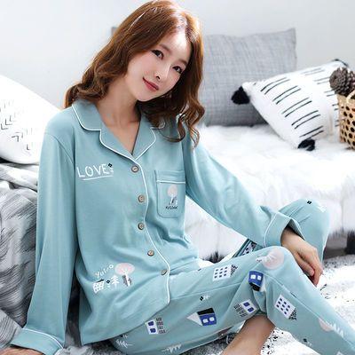 睡衣女春秋棉质长袖睡衣春夏季学生韩版可爱女士休闲家居服套装女