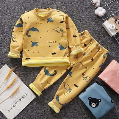 2020新款童装儿童秋装男女童保暖内衣套装加绒加厚宝宝睡衣冬装潮