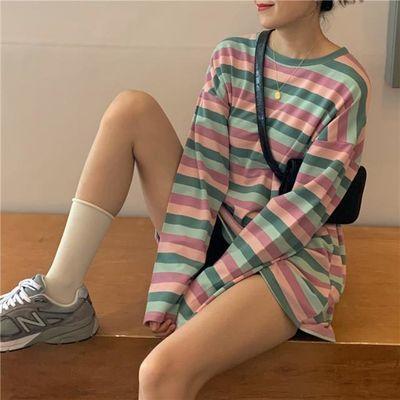 2020秋季新款撞色条纹上衣女学生宽松原宿风百搭长袖T恤