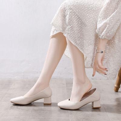 VICTORIA&VERA单鞋女2020秋季新款舒适中跟复古方头百搭奶奶鞋