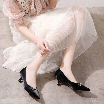 VICTORIA&VERA女单鞋2020秋款舒适简约浅口中跟高跟鞋通勤工作鞋