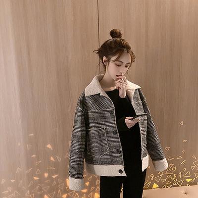 网红羊羔毛外套女秋冬百搭2020新款韩版宽松小个子短款ins超火厚