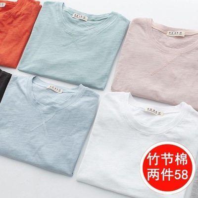 2件日系秋季竹节棉长袖T恤纯棉薄款打底衫男士夏短袖体恤男装衣服