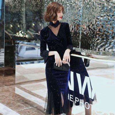 改良版旗袍丝绒长袖气质鱼尾修身长款年轻礼服少女宴会连衣裙秋冬