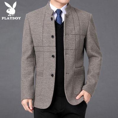 秋冬季休闲外套中年男士商务毛呢夹克上衣花花公子新款加厚爸爸装