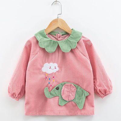 新款宝宝罩衣防水儿童秋冬男女孩反穿衣围兜吃饭衣水晶绒婴儿围裙