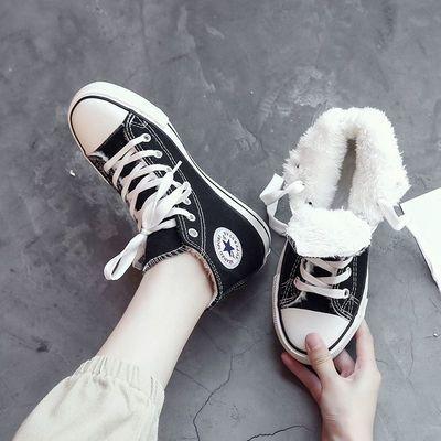 棉鞋女冬加绒高帮帆布鞋女2020新款冬季学生板鞋子秋冬百搭二棉鞋