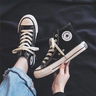 儿童休闲透气帆布鞋高帮童鞋春秋款系带小男童女童板鞋大童球鞋子