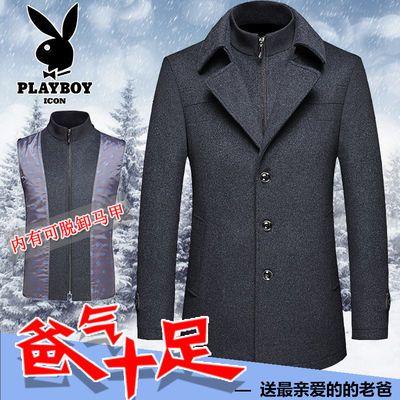 花花公子羊毛呢大衣男中长款冬季外套加厚中年男士毛呢夹克爸爸装