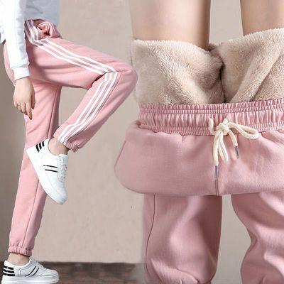 加绒/不加绒秋冬加厚仿羊羔绒裤子女学生韩版宽松哈伦裤运动卫裤