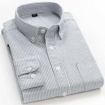 100%纯棉秋季新款长袖衬衫男条纹牛津纺衬衣男休闲免烫韩版男衬衫