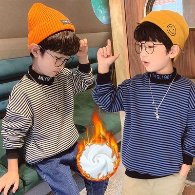 童装男童加绒卫衣条纹打底衫儿童保暖衣绒衫2020冬装新款潮上衣