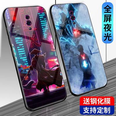 适用于OPPOreno手机壳玻璃夜光男款reno手机套防摔个性韩版定制潮