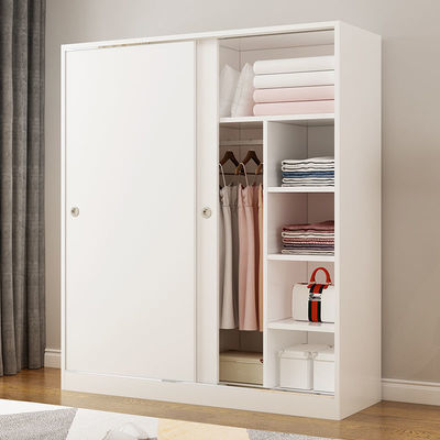 衣柜实木板式推拉门移门简约现代家用卧室宿舍组装储物柜衣橱组合