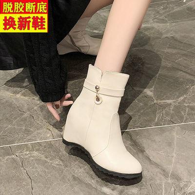 内增高短靴坡跟靴子女冬加绒高跟雪地靴女款大码马丁靴英伦风百搭