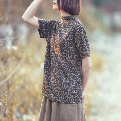 夏秋款短袖T恤女大码宽松显瘦堆堆领豹纹打底衫印花上衣百搭长袖