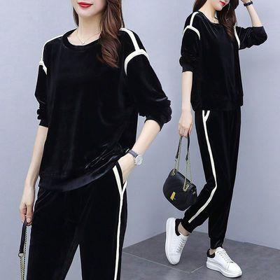 大码女装两件套金丝绒休闲运动套装女春秋新款时尚卫衣宽松显瘦