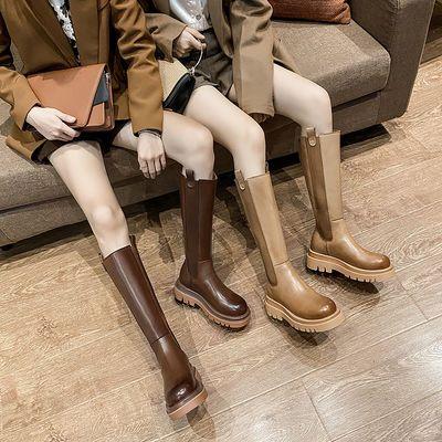BV长靴2020秋冬新款潮烟筒真皮马丁靴女厚底瘦腿后拉链女切尔西靴