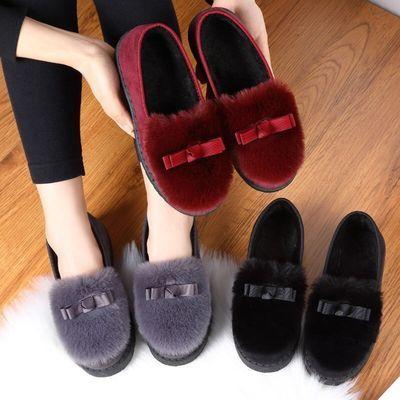 2020新款秋冬季毛毛鞋棉拖鞋女学生豆豆鞋韩版百搭鞋保暖平底鞋子