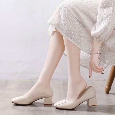 VICTORIA&VERA舒适软单鞋女百搭通勤鞋一脚蹬低跟粗跟两穿高跟鞋