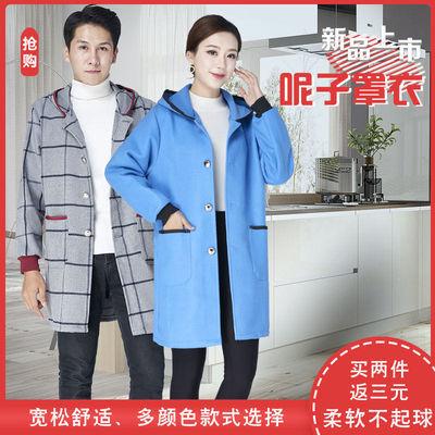 厨房家用呢子罩衣加绒加厚女冬季款擦手长袖围裙男外套大人工作服