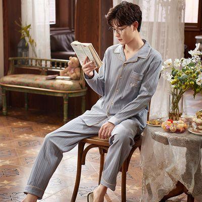 男士睡衣春秋季坑条长袖薄款棉质2020新款时尚大码休闲外出居家服