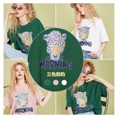 盛放欧货大版t恤女 短袖2020夏装新款豹纹印花宽松纯棉chic恤上衣