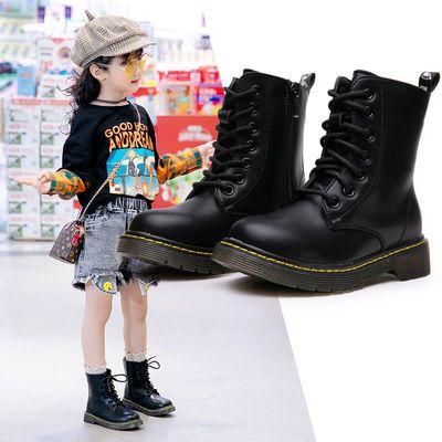 女童鞋子2020新款秋冬季儿童靴子男童马丁靴真皮二棉童鞋女单短靴