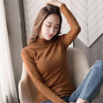 女装2020新款潮半高领打底衫女装长袖t恤新款百搭内搭刺绣上
