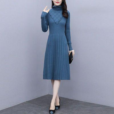 针织长袖连衣裙女2020秋冬款气质显瘦中长款百搭黑色毛衣打底裙子