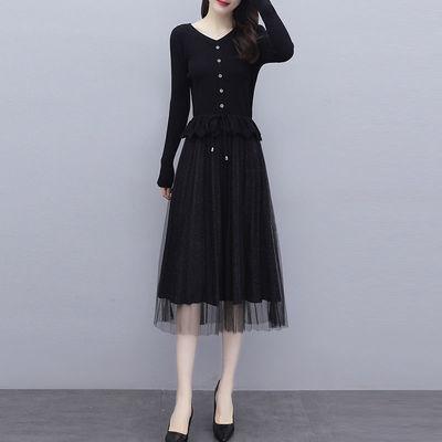 黑色针织连衣裙女秋冬新款大码气质收腰显瘦蕾丝拼接毛衣打底裙子